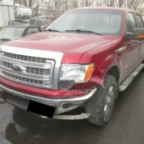Ford Truck smashed left front fender before auto body by Barbosa's Kustom Kolor, Kansas City, MO